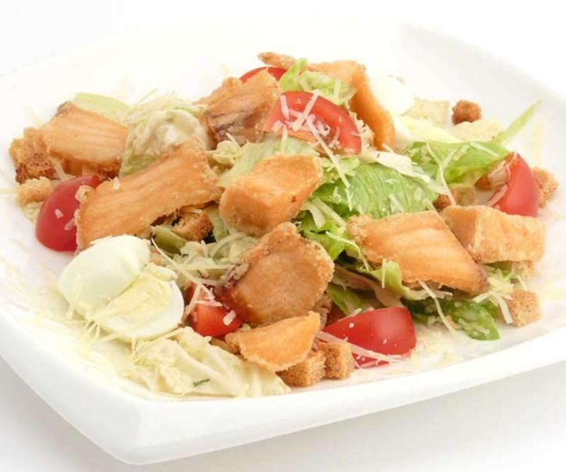 Салат цезарь с сёмгой в домашних условиях рецепт с пошагово