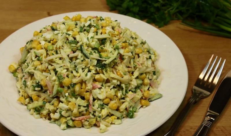 Салат из крабов с кукурузой рецепт с очень вкусный