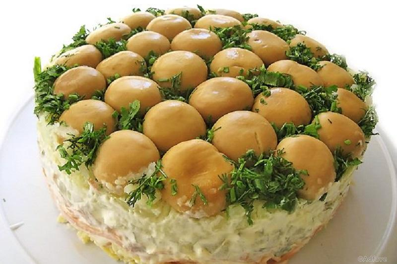 салат грибная полянка с шампиньонами рецепт с фото