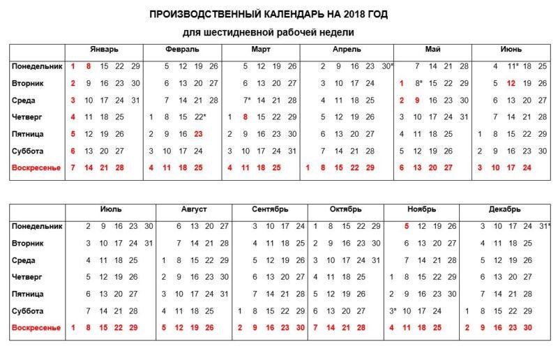 Календарь для шестидневной рабочей недели